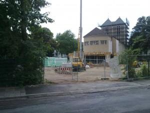 Blick von der Straße Köhlerhof auf die Baumaßnahme Sankt Nikolaus
